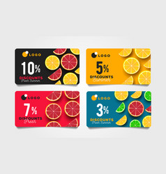 Summer sale discount cards with sliced citrus vector
