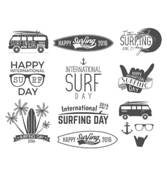 Summer surfing day graphic elements vector image