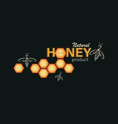 Swarm bee honeycomb emblem label business card vector