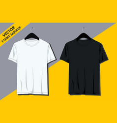 T-shirt mockup on hanger front view vector