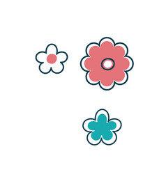 Three isolated stylized flowers vector