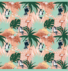 tropical floral summer seamless color background vector image