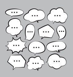 various stickers of white speech bubbles set with vector image