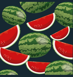 watermelon fruit fresh seamless pattern design vector image