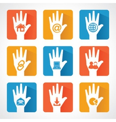 Web icons and design with helping hand vector