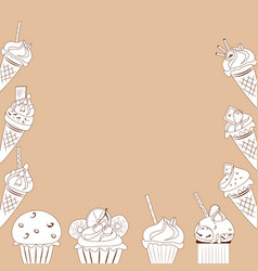 White cakes on a brown background vector