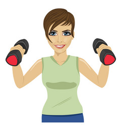 Young woman doing exercises with dumbbells vector