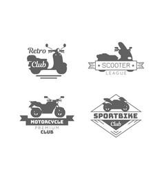 black motorcycle logotypes set vector image
