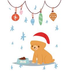christmas 2018 dog card cute cartoon puppy vector image