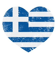 Greece heart love retro flag vector image vector image