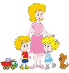 Mother and children vector