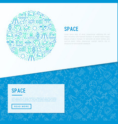 space concept in circle with thin line icons vector image