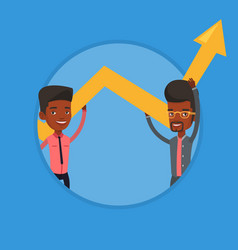 two businessmen holding arrow going up vector image vector image