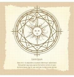 Vintage alchemy magic circle vector image vector image