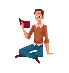 Young man boy reading book sitting on the floor vector