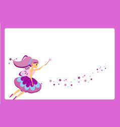 beautiful flying fairy character with purple wings vector image