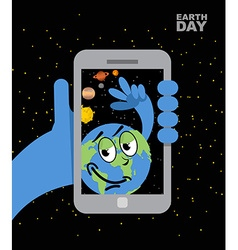 Earth Day Earth selfie Planet earth and mobile vector image vector image