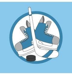 Emblem hockey - skates stick and puck vector image