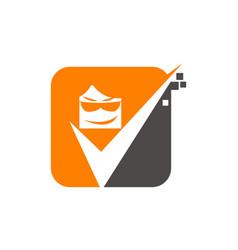 Face check mark vector