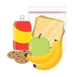 school lunch apple banana sandwich and cookies vector image