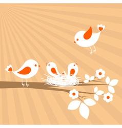 birds family spring card vector image vector image