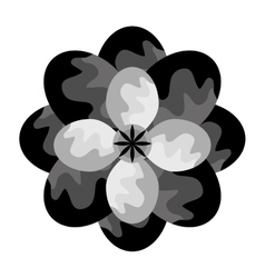 black and grey flower graphic vector image