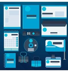 Blue corporate identity template vector image