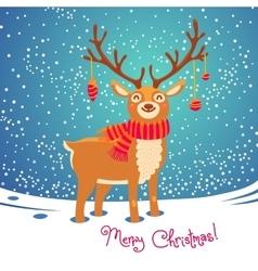 Christmas card with reindeer Cute cartoon deer vector image vector image