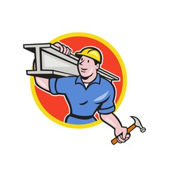 Construction Steel Worker Carry I-Beam Circle vector image vector image