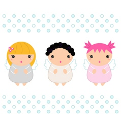Cute Kawaii christmas angels isolated on white vector image vector image