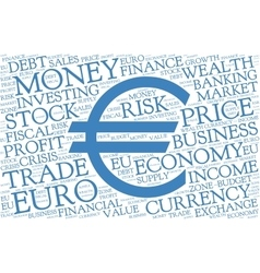 Euro word cloud with symbol of currency vector image