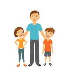 Father with kids Happy family Father with children vector image