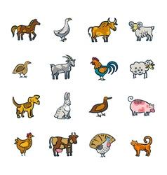Line Farm Animals Set vector image vector image