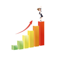 business woman growing increase a graph success vector image vector image