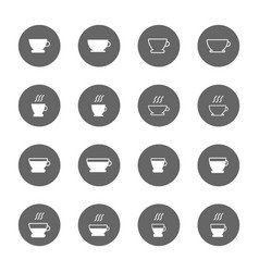 coffee and tea cup icons set vector image