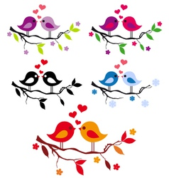 cute birds with red hearts on tree set vector image vector image