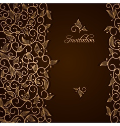 Invitation with gold lace floral ornament vector