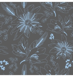 Seamless dark grey pattern with flowers lily vector image vector image