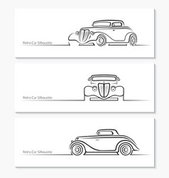 Set of vintage car silhouettes vector image vector image