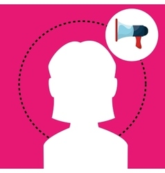 silhouette woman megaphone vector image