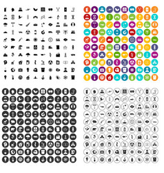 100 emission icons set variant vector