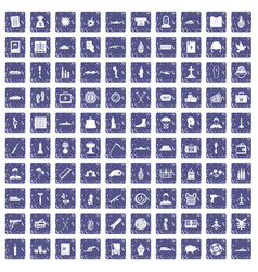 100 war crimes icons set grunge sapphire vector