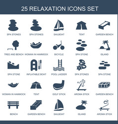 25 relaxation icons vector image