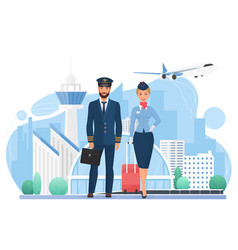 aircraft crew people in modern airport stewardess vector image