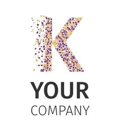 Alphabet particles logotype letter-k vector