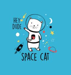 Astronaut cat for t-shirt vector