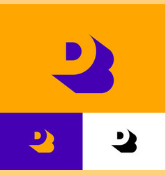 B is a shadow d letter db monogram vector