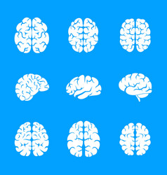 brain thinking icon set simple style vector image