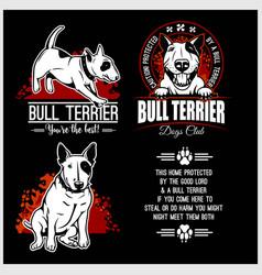 bull terrier - set for t-shirt logo vector image