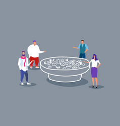 businesspeople standing at catering banquet table vector image